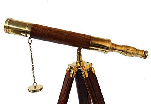 Collectibles Buy A Vintage Table Decorative Shiny Brass Tube Telescope with Antique Wooden Tripod High Magnification Sailor Article by Collectibles Buy (Image #2)