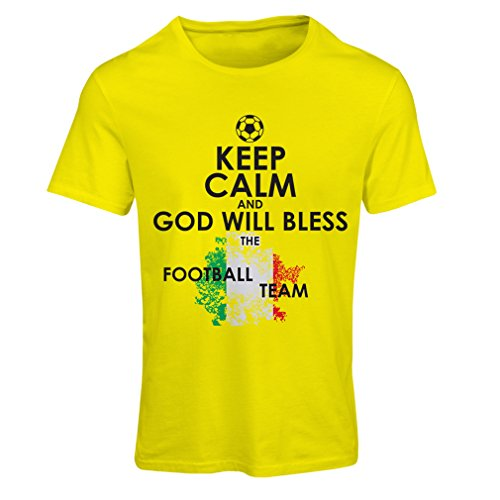 fan products of N4458F T Shirts For Women Keep Calm and God Will Bless The Italian National Football Team (Small Yellow Multicolor)