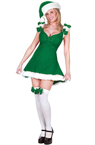 [Mememall Fashion Sexy Christmas Elf Santa Helper Adult Halloween Costume (Green)] (Childrens Santas Helper Costume)