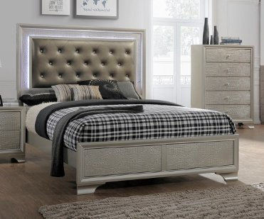 Lila King Panel Bed w/Vinyl Headboard Upholstery & LED by Crown Mark