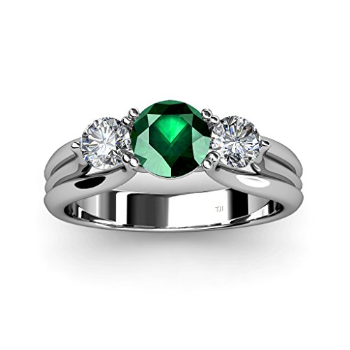 Emerald-and-Diamond-Three-Stone-Ring-with-Thick-Shank-129-ct-tw-in-14K-Gold