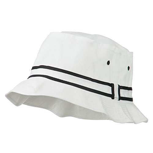 Striped Hat Band Fisherman Bucket Hat - White Black L-XL Fisherman Bucket Hat
