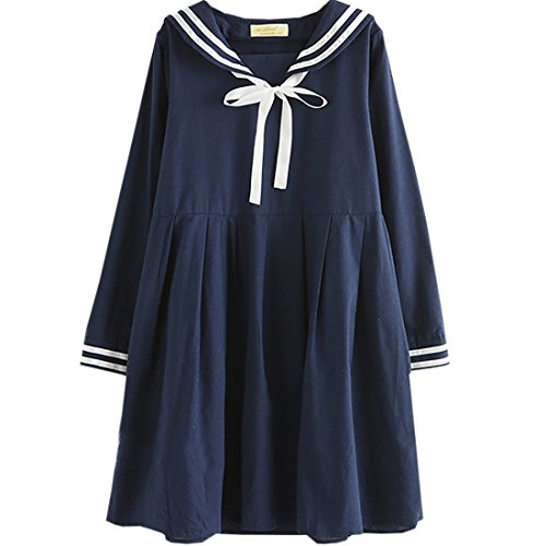 Partiss Women's Sailor Collar Long Sleeve Sweet Lolita Dress, One Size, Navy (Lolita Clothing)