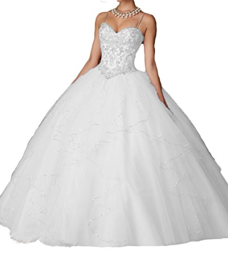 Quinceanera Gown New (Dydsz Women's Quinceanera Dresses 2019 Prom Ball Gown 2 Piece Beaded Blush Pink D203 White 2)