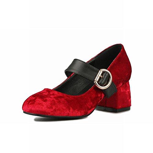 Charm Women's Court Shoes Toe Square Mid Elegant Buckle Red Heel Carolbar qE4Zxq