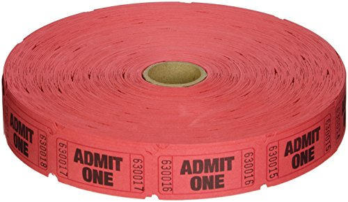 2000 Red Admit One Single Roll Consecutively Numbered Raffle Tickets -