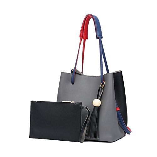 Bucket Signature Over Bag - Fashion Leather Bucket Crossbody Women Shoulder Bag,Small Purses Handbag(Gray)