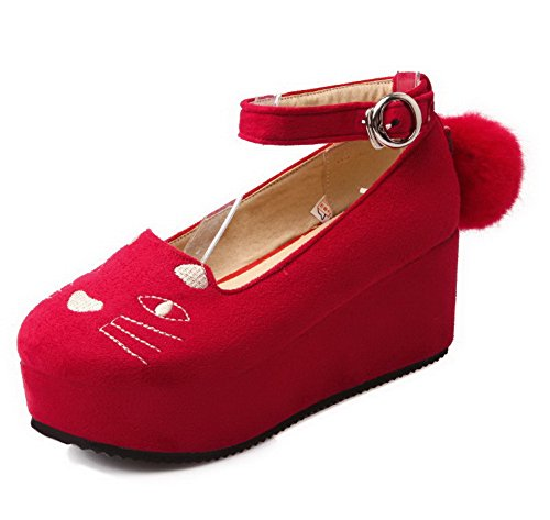 VogueZone009 Women's Kitten-Heels Assorted Color Buckle Frosted Round Closed Toe Pumps-Shoes Red 51Q1Jtz2