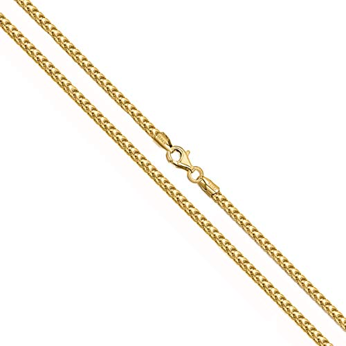 Orostar Sterling Silver 2MM Solid Franco Square Box Link Italian Chain Necklace, 16-36 Inch - Made in Italy (Yellow Gold, 26)