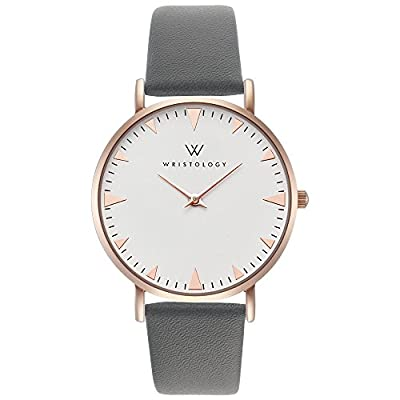 WRISTOLOGY Stella Womens Rose Gold Boyfriend Watch Metal Charcoal Grey Leather Changeable Strap