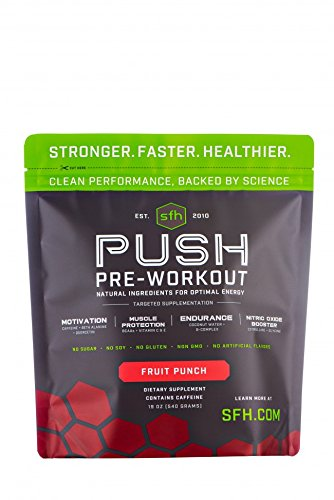 - PUSH Pre-Workout Powder (Fruit Punch) by SFH | Best Tasting 5g BCAA's for Muscle Repair | Non-Dairy, No Artificial Flavors, Colors, or Sweeteners (Fruit Punch, Bag)