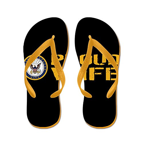 Cafepress Us Navy: Proud Wife (black) - Slippers, Grappige Leren Sandalen, Strandsandalen