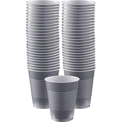 Amscan Silver Plastic Cups Big Party Pack, 16 Oz., 50 Ct. -