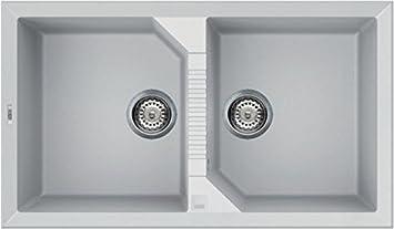 Elleci Tekno 450 Vitrotek 3G White Waschbecken Spüle Granit Einbau ...