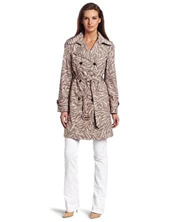 Calvin Klein Women's Zebra Trench Coat, Taupe/Brown, X-Small