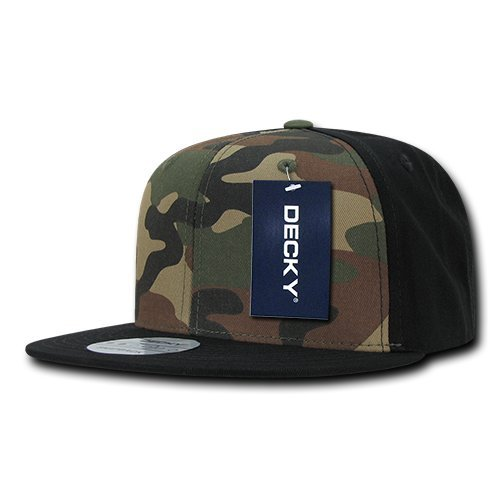 DECKY Cotton Flat Bill Snapbacks, Black/Woodland/Black by DECKY