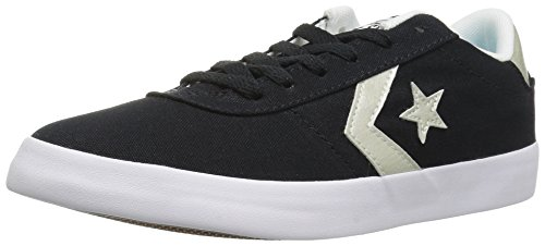 Converse Women's Point Star Low TOP Sneaker, Black/White/Gold, 5 M US