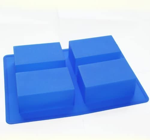Allforhome 4 Cavity Plain Basic Rectangle Soap Mold Handsize Silicone Mould for Homemade DIY Moules /à Savon