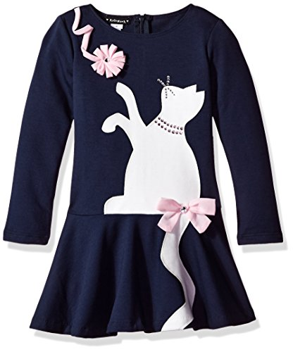 Kate Mack Little Girls' Pretty Knit Dress With Colorblocked Kitty, Navy, 6X - Kate Mack Girls Clothing