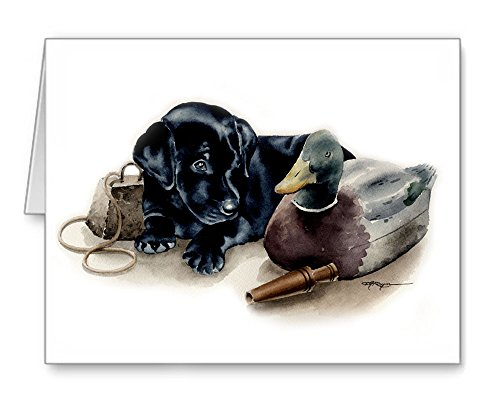 ''Black Lab Puppy'' - Set of 10 Note Cards With Envelopes by DJ Rogers Fine Art