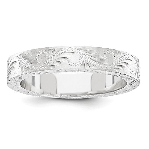 Roy Rose Jewelry 14K White Gold Fancy Etched Design 5mm Wedding Band Ring Size 5 (Etched Gold Design White)