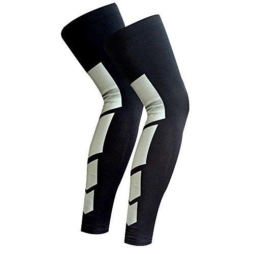 CFR Recovery Compression Leg Sleeves (Pair) - Sport Football Basketball Cycling Strech Leg Knee Long Sleeve Black,XL from CFR