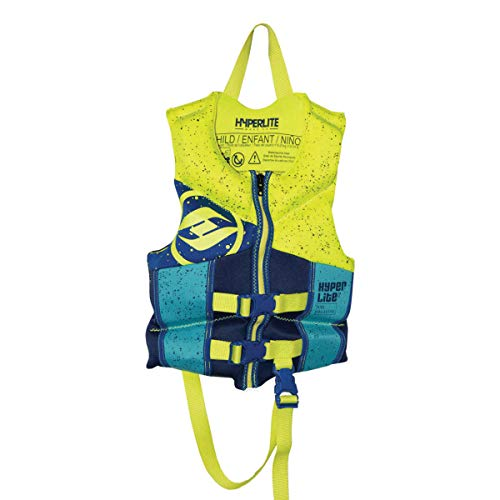 Hyperlite Child/Infant Life Vest, USCG Approved Level 70 Buoyancy Device 33-55 lbs (Neon Yellow/Blue)