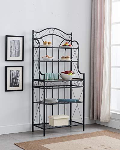 Faux Furniture Stone (Kings Brand Furniture – Black Metal/Faux Stone 5-Tier Kitchen Storage Bakers Rack)