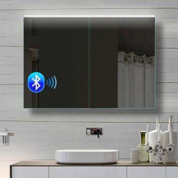rmi-ByPack Alu Badezimmer spiegelschrank LED und Bluetooth ...