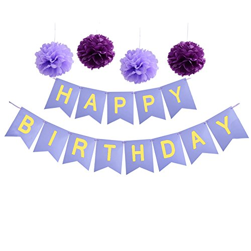 Birthday Decorations,Purple and Gold Happy Birthday Banner With Party Tissue Paper Pom Poms
