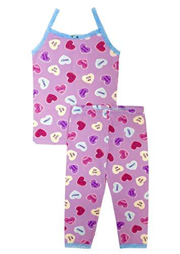 (Esme Girl's Sleepwear Camisole Leggings Set 8 Candy Hearts)