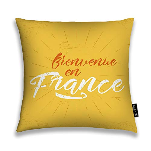 Throw Pillow Covers France Europe 2016 Football Retro Sign Soccer Overlay Tournament Bienvenue En France Home Decorative Throw Pillowcases Couch Cases 26