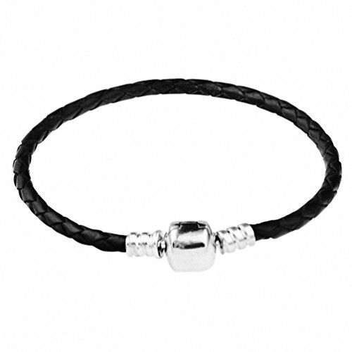 CHANGLEABLE 925 Sterling Silver Leather Bracelets for Charms, Black Braided 21CM