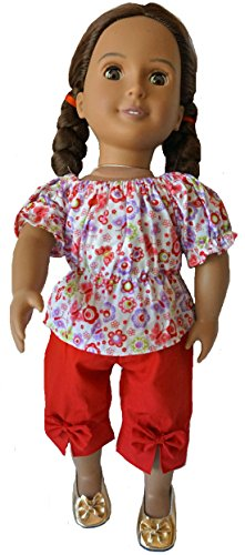 Doll Clothes Super store Red Flowers and Butterflies with Red Capri Pants Fit 8 Inch Girl Dolls ()