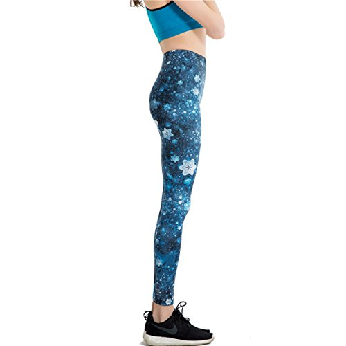 Femmes Nouveau Design Bleu Prune Leggings Imprimé Numérique Yoga Pantalon Active Leggings D'entraînement Stretch Collants Courir Pantalon De Sport