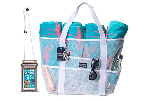 Bombshell Beach Bags - a range of extra large mesh bags or totes, beach bags, beach totes, gym bags, toy bags, shopping bags, for woman, with zip pouch and extra - Bag Beach Warehouse