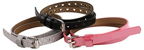 On the Verge Little 3 Pack Girls' Belts, Fuchsia Black/Silver, Small/Medium