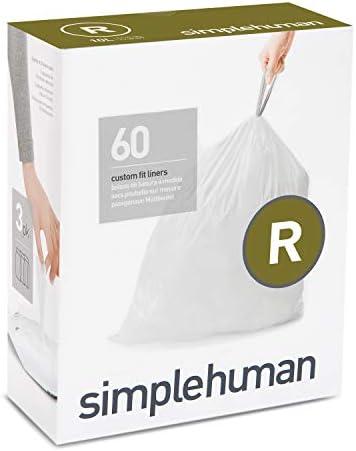 simplehuman Code R Custom Fit Drawstring Trash Bags, 10 Liter / 2.6 Gallon, White, 60 Count