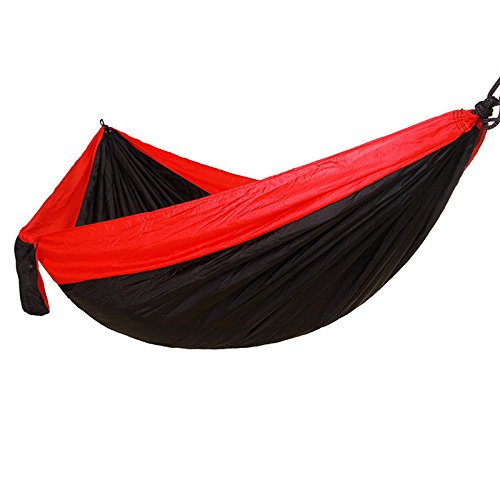 Red and black Outdoor Parachute Cloth Hammock Camping Swings Double Outdoor Camping Hammock lighters 275  140
