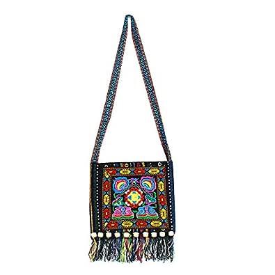 Sun Kea Women Handmade Tassels Sling Shoulder Bag Boho Embroidery Crossbody Purse Blue Size: One Size