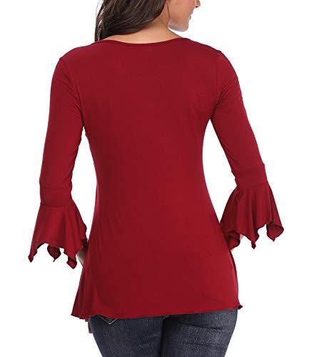 Allacciatura Moda Anteriore Svasata Maniche Femminili E Bell Wine Bottoni Tops 4 Donna 3 Eleganti Girocollo Red Signore Campana Camicie Casuale Camicette Arricciati Ladies ZnPwq64g7