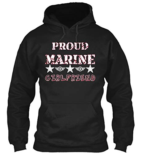 Proud Marine Girlfriend S - Black Sweatshirt - Gildan 8oz Heavy Blend Hoodie