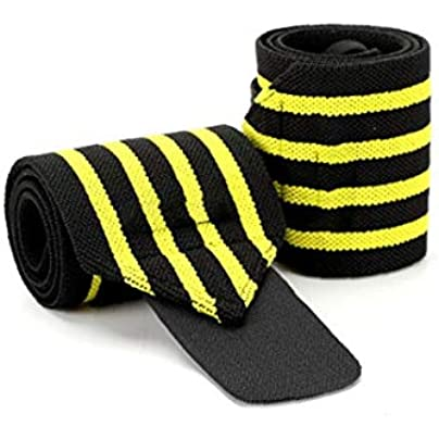 Ruijanjy Pair Elastic Sports Wrist Brace Wrist Band Adjustable Compression Strap Sports Protective Gear for Men Women Yellow Estimated Price -