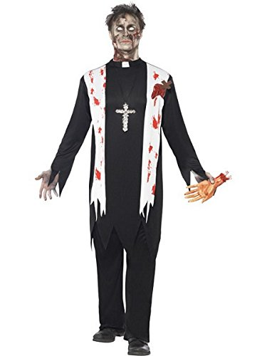 Smiffy's Men's Zombie Priest Costume, Blooded Top, Latex Wound, Collar and pants, Zombie Alley, Halloween, Size L, (Latex Wounds Halloween Uk)