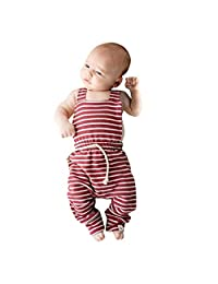 DKmagic Newborn Infant Baby Girl Boy Backless Striped Romper Overalls Jumpsuit Clothes