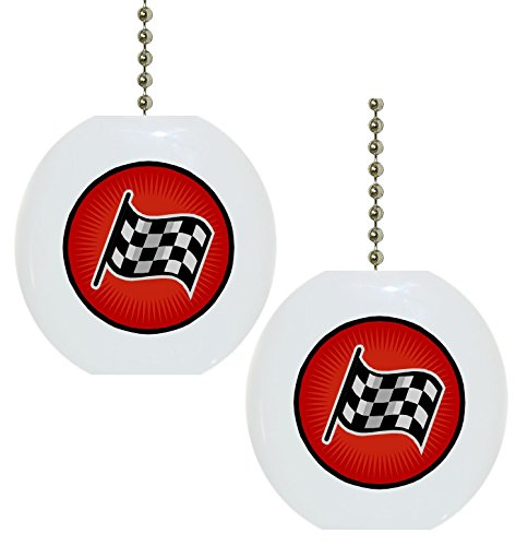 Set of 2 Checkered Flag Solid CERAMIC Fan