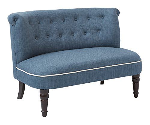 AVE SIX Christi Tufted Back Armless Loveseat with Contrast Piping, Milford Indigo - Espresso Armless Loveseat