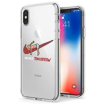 iPhone 10 Case,iPhone X Case, Nike Just Do it Tomorrow Spoof Parody 3D  Printed Cartoon Design Soft Clear Cute Funny Case