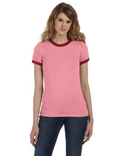 Bella + Canvas 4.2 oz. Short-Sleeve Heather Jersey Ringer (B6050) -HTHR PINK/CA -XL