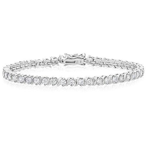 7.25' Link (Sterling Silver S-Link Cubic Zirconia Tennis Bracelet, 7.25'')